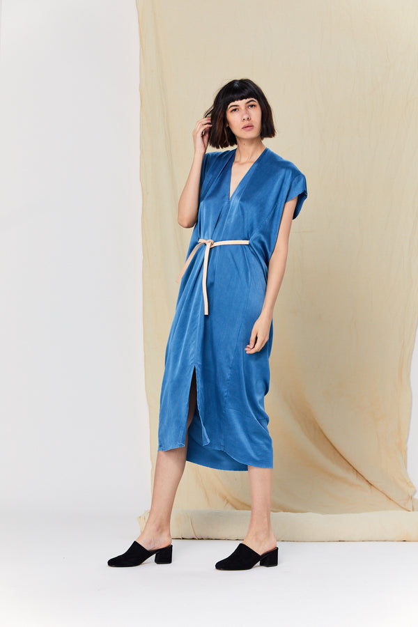 Knot Dress, Silk Charmeuse in Indigo