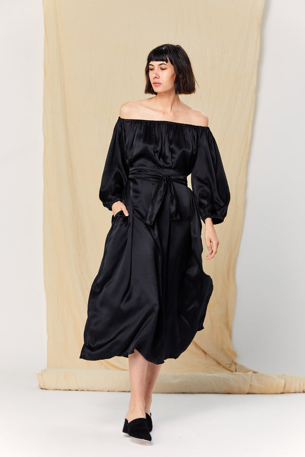 Cassatt Dress, Silk Charmeuse in Black