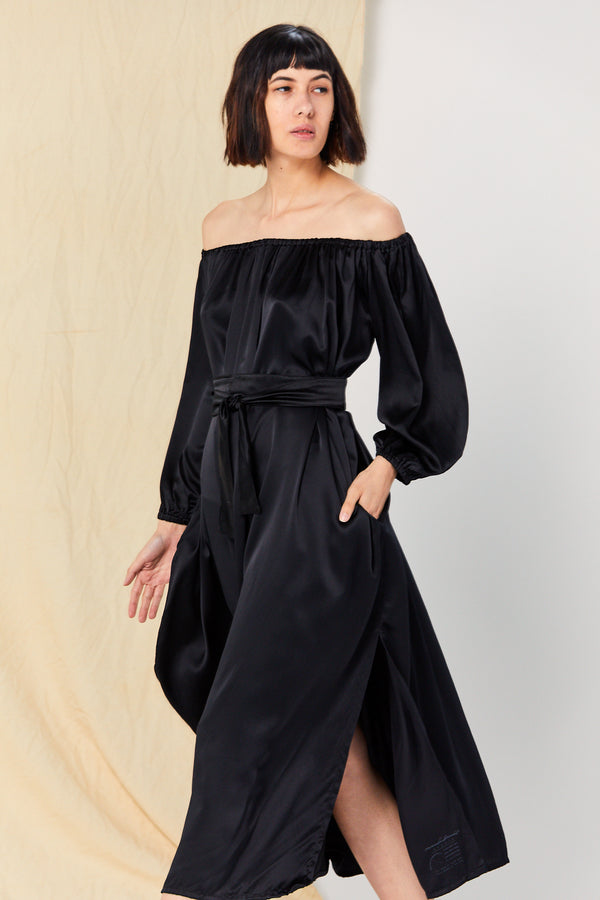 Petite Cassatt Dress, Silk Charmeuse in Black