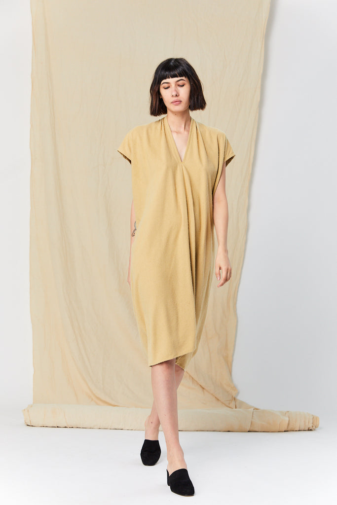 Everyday Dress, Silk Noil in Palomino FINAL SALE