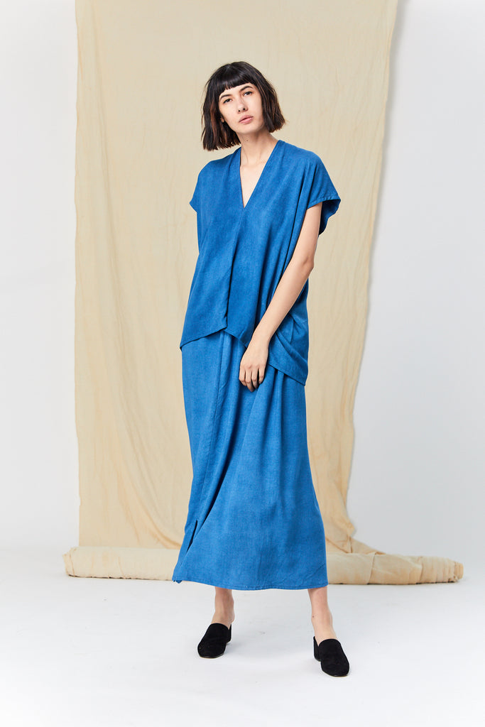 Everyday Top, Rayon Crepe in Indigo FINAL SALE