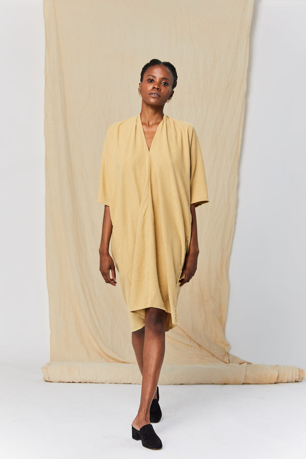 Petite Muse Dress, Silk Noil in Palomino