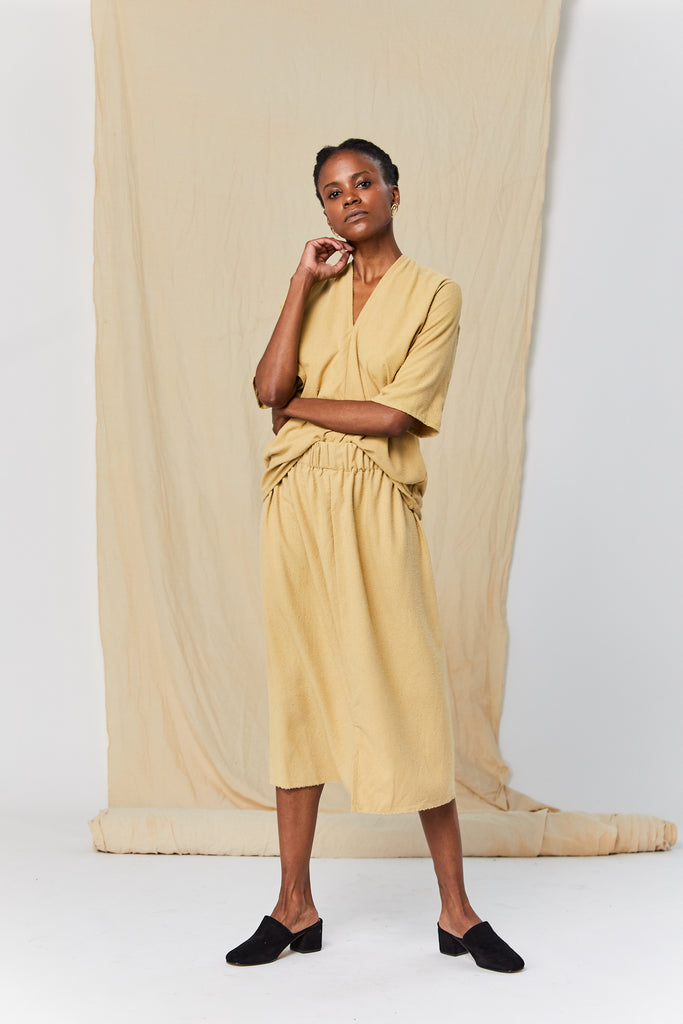 Petite Paper Bag Skirt, Silk Noil in Palomino