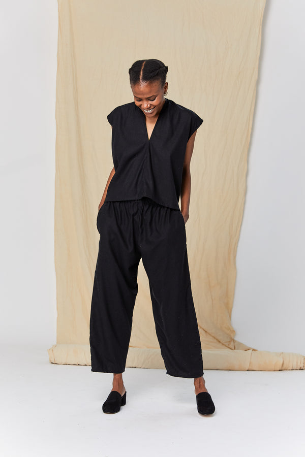 Petite Hadid Pant, Silk Noil in Black