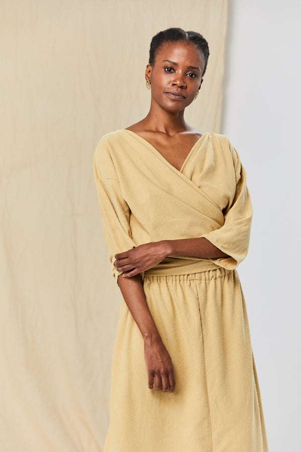 Petite Wrap Top, Silk Noil in Palomino