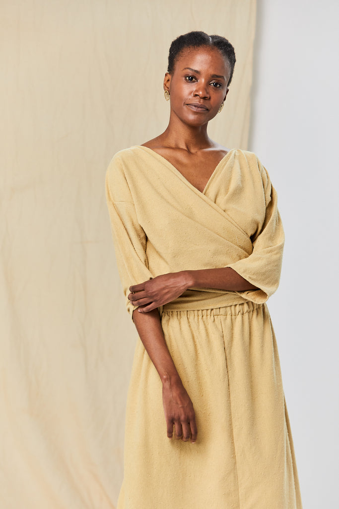 Wrap Top, Silk Noil in Palomino