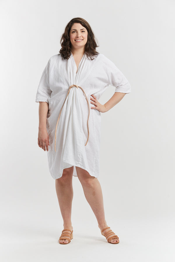 O'Keeffe Dress, Linen in White  FINAL SALE