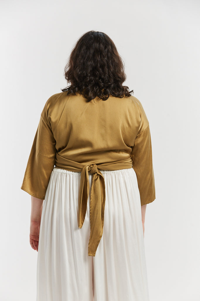 Wrap Top, Silk Charmeuse in Nile