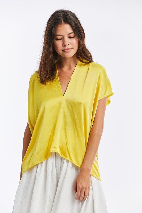 Everyday Top, Silk Charmeuse in Mexican Mint Marigold