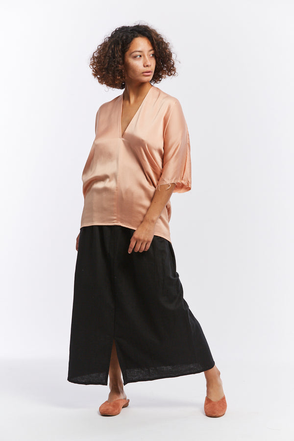 Muse Top, Silk Charmeuse in Bardot
