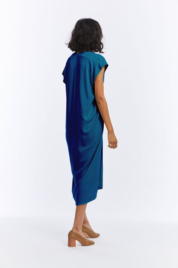 Knot Dress, Rayon in Indigo