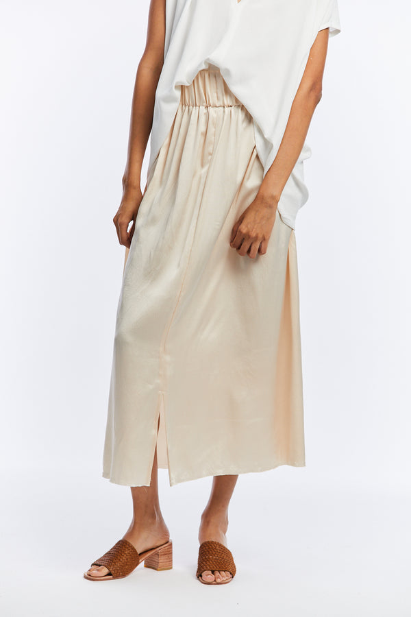 Petite Paper Bag Skirt, Silk Charmeuse in Pecan