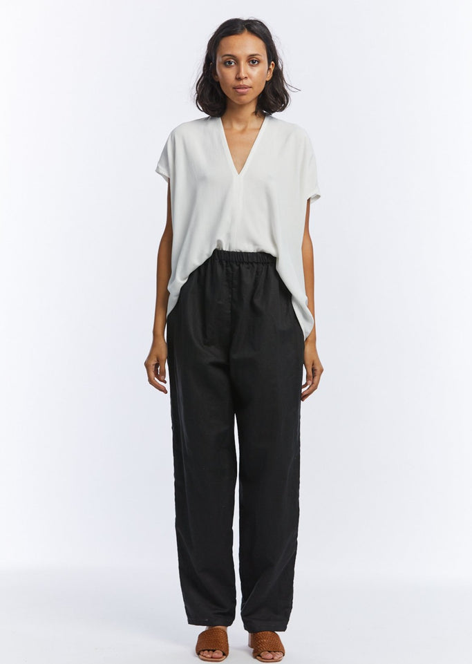 Hadid Pant, Cotton Linen in Black