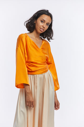 Wrap Top, Silk Charmeuse in Mandarin