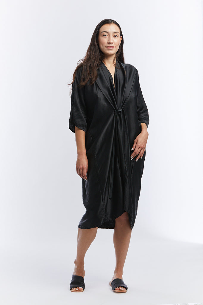 O'Keeffe Dress, Silk Charmeuse in Black