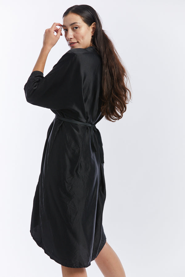 O'Keeffe Dress, Silk Charmeuse in Black  FINAL SALE
