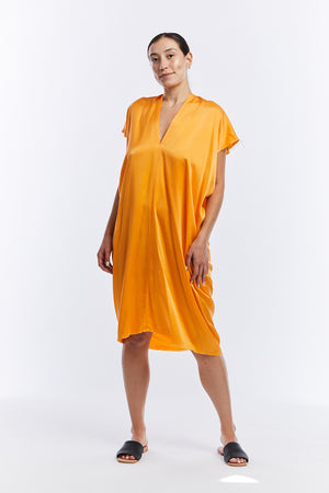 Everyday Dress, Silk Charmeuse in Mandarin