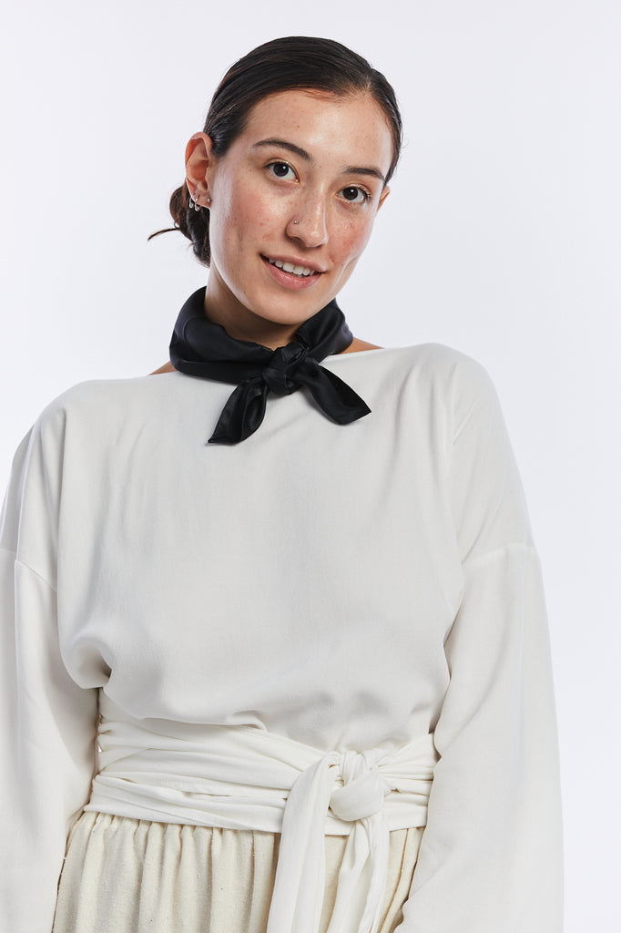 Neckerchief, Silk Charmeuse in Black