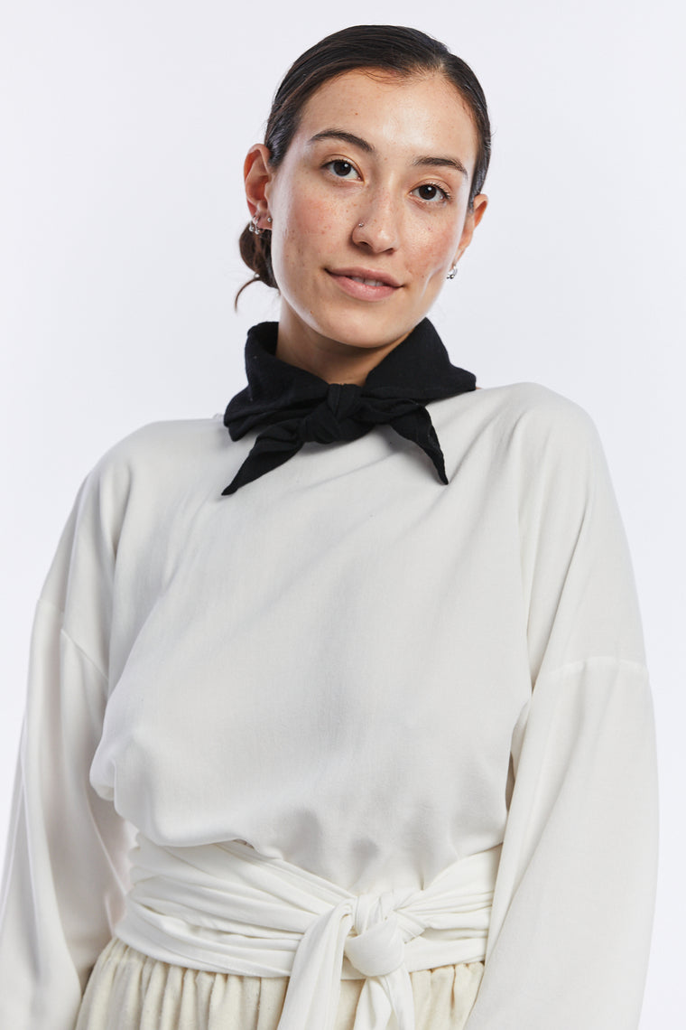 Neckerchief, Cotton Gauze in Black