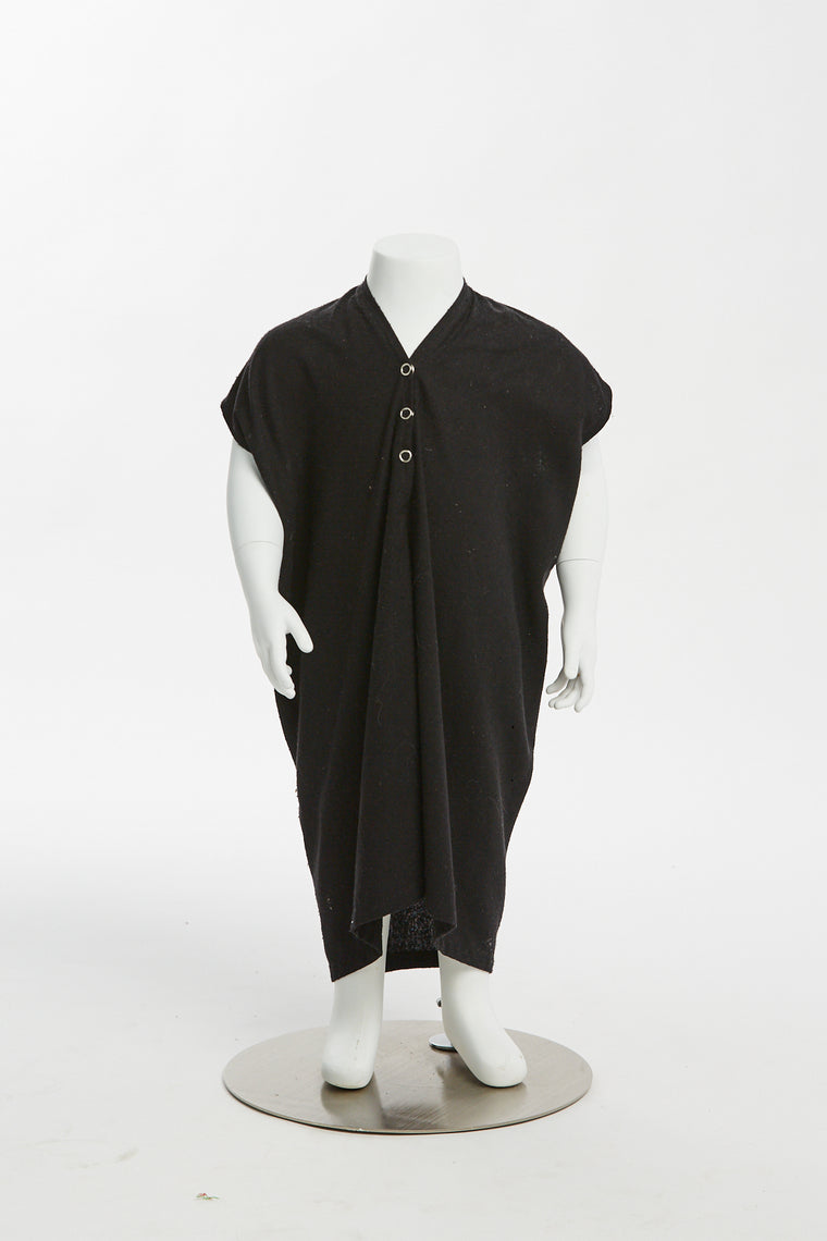 Zero Waste Kid's Everyday Dress, Silk Noil in Black