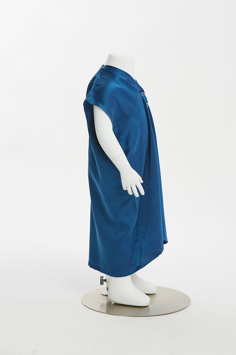 Zero Waste Kid's Everyday Dress, Silk Charmeuse in Indigo