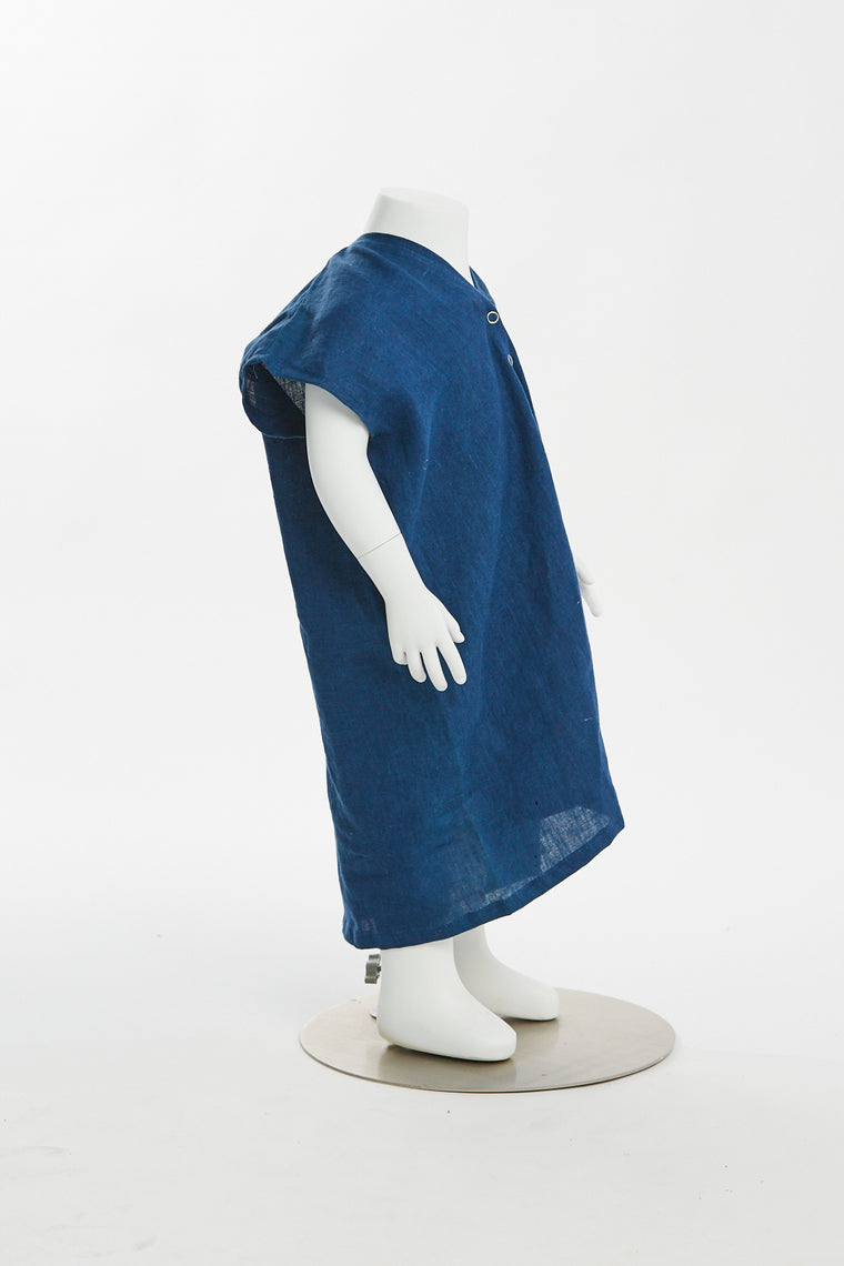 Zero Waste Kid's Everyday Dress, Linen in Dark Indigo