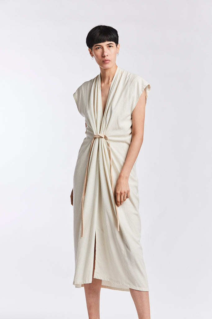 Knot Dress, Silk Noil in Natural