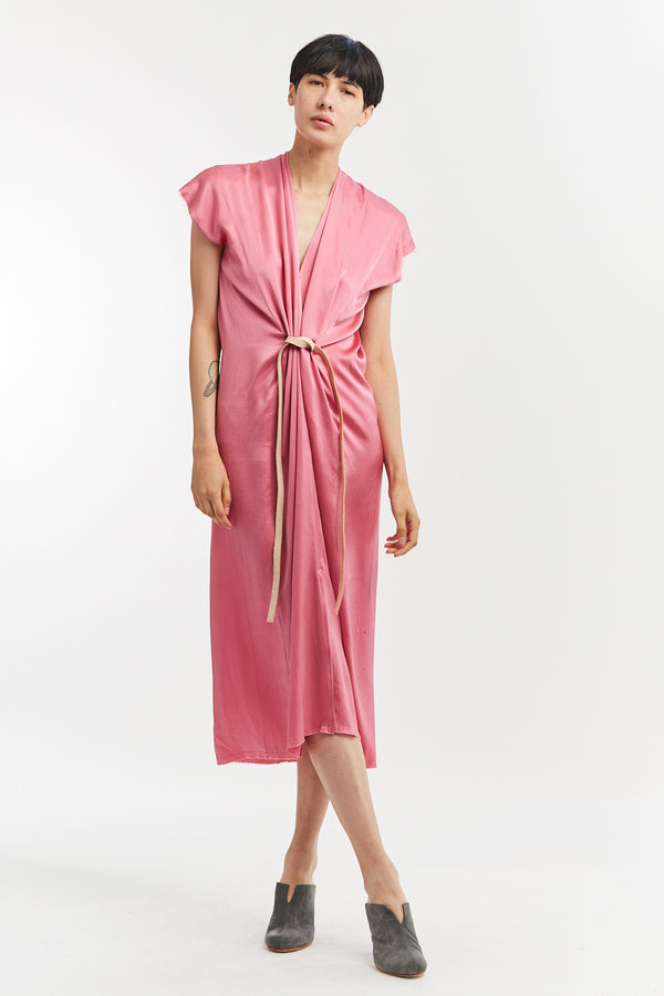 Knot Dress, Silk Charmeuse in Cochineal