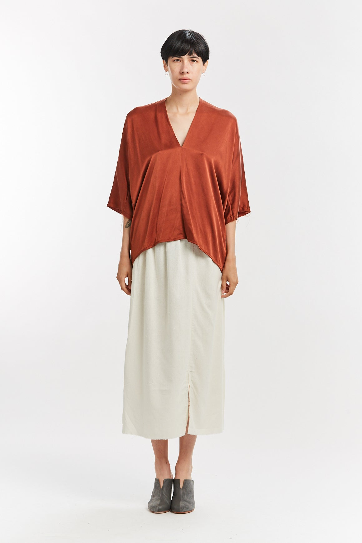 Muse Top, Silk Charmeuse in Palermo