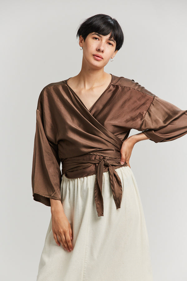 Wrap Top, Silk Charmeuse in Badlands