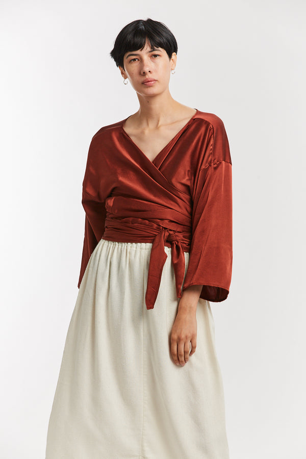 Wrap Top, Silk Charmeuse in Palermo