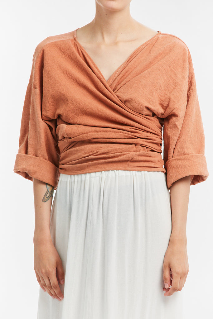 Wrap Top, Textured Cotton in Taos