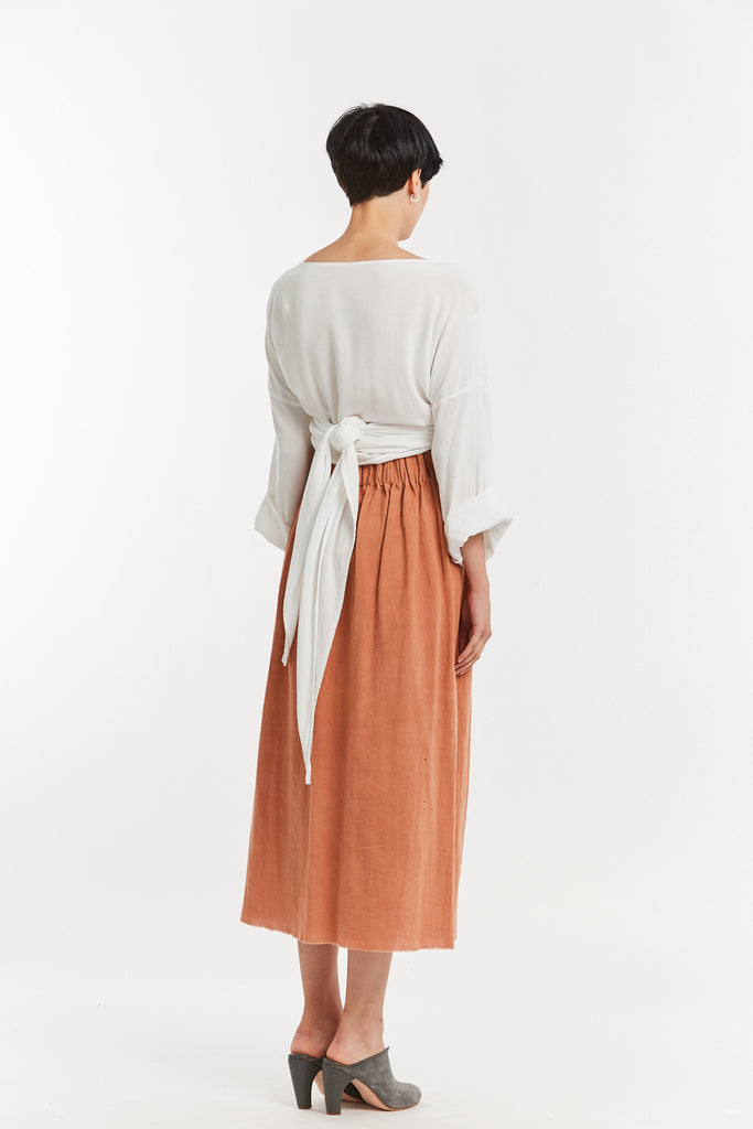 Paper Bag Skirt, Textured Cotton in Taos