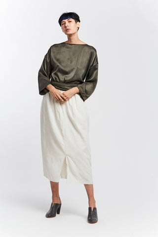 Wrap Top, Silk Charmeuse in Lanai