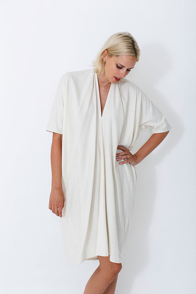 Muse Dress, Oversized, Silk Noil in Natural