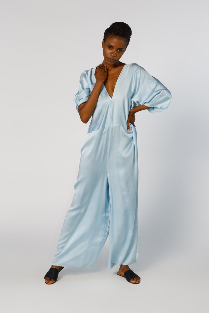 Muse Jumpsuit, Silk Charmeuse in Light Indigo