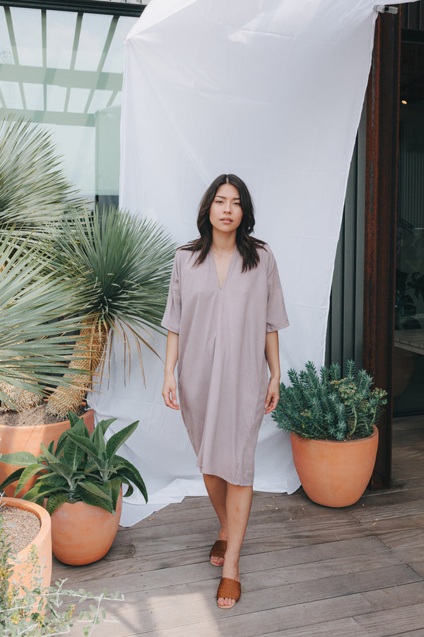 Muse Dress, Silk Noil in Rambler