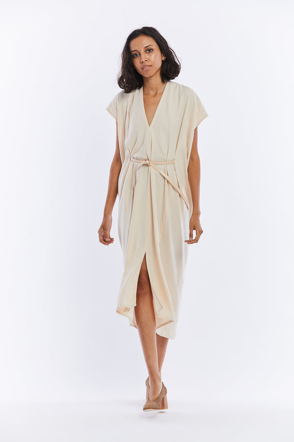 Knot Dress, Rayon Crepe in Pecan