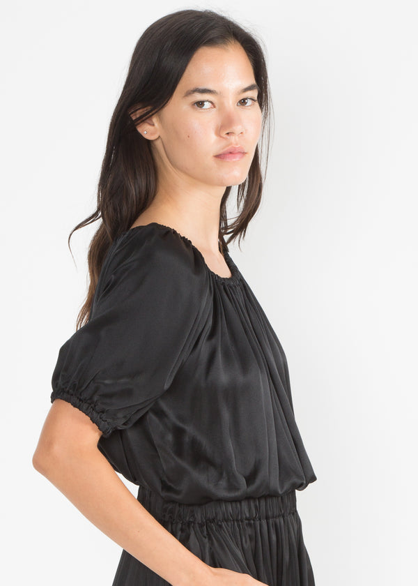 Carlisle Top, Silk Charmeuse in Black