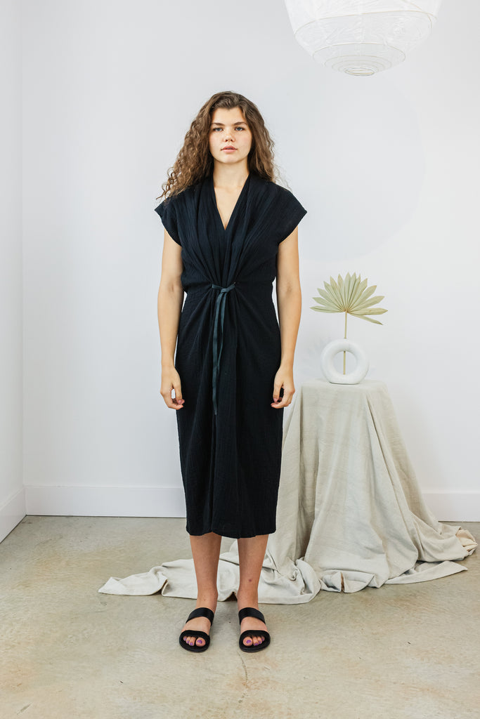 Knot Dress, Cupro in Black