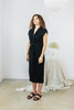 Knot Dress, Cupro in Black FINAL SALE