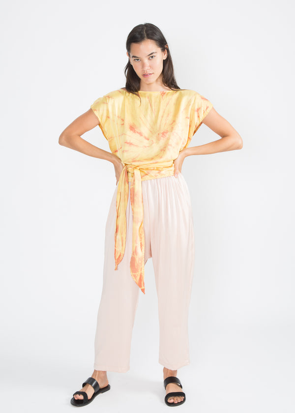 Hassinger Top, Silk Charmeuse in Mexican Mint Marigold Overdye