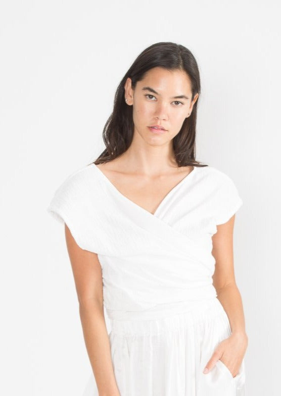 Hassinger Top, Organic Cotton Bubble Gauze in White
