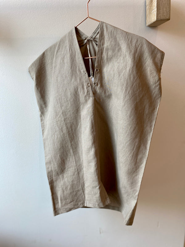 Kid's Everyday Dress, Linen in Acacia & Iron