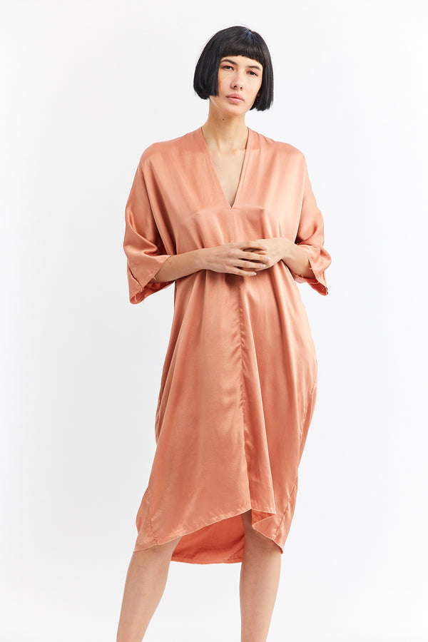 Muse Dress, Silk Charmeuse in Madder & Osage FINAL SALE