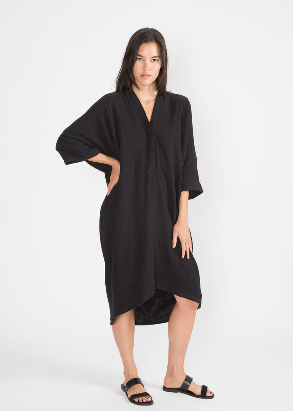 Muse Nursing Dress, Organic Cotton Bubble Gauze in Black
