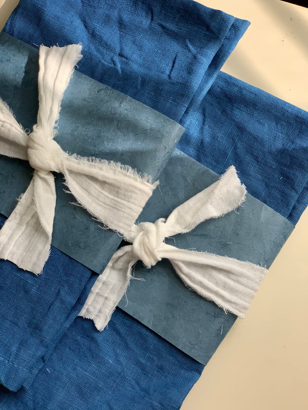 Miranda Bennett Studio Large Linen Napkins, Set of Two, Naturally Dyed in Indigo in the USA
