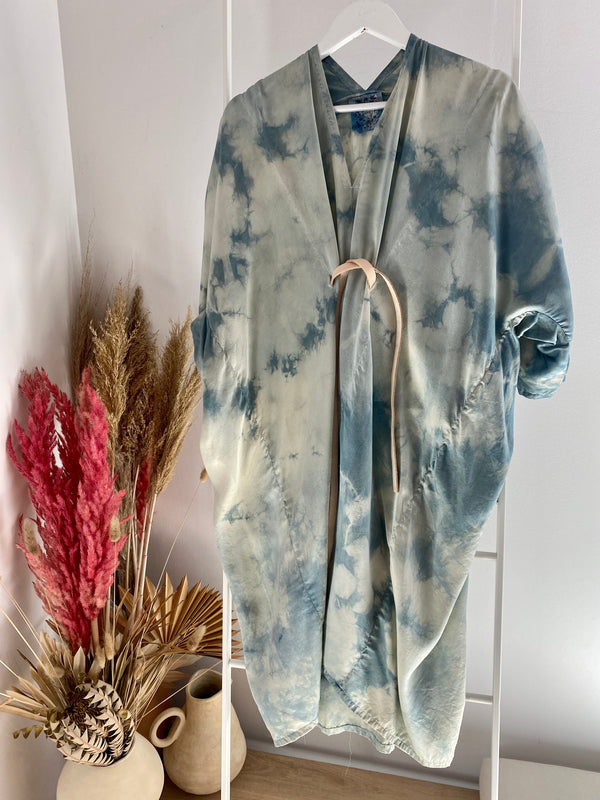 O'Keeffe Dress, Silk Charmeuse in Indigo Tie-Dye FINAL SALE