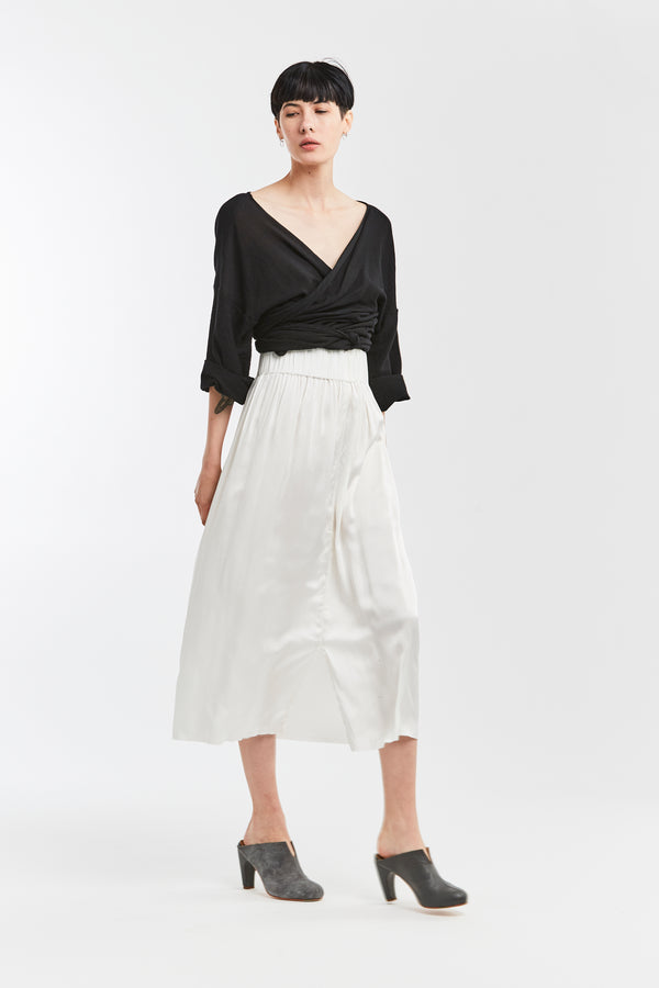 Paper Bag Skirt, Silk Charmeuse in White