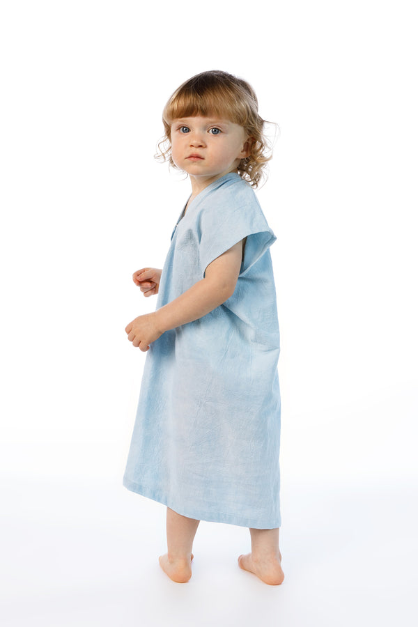 Kid's Everyday Dress, Silk Charmeuse in Light Indigo